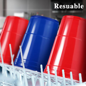 MOZOOSON Copas de Plastico, 100 Vasos Desechables de 16oz Beer Pong – Vaso para Fiesta Celebración Ideal para Juego Americano de Beer Pong – Vaso de ...