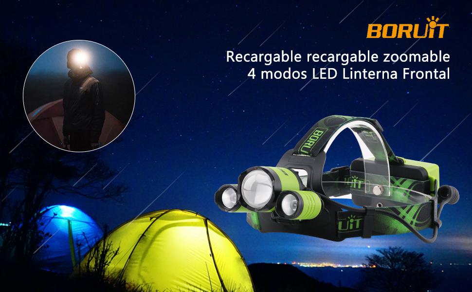 Boruit Upgrated B22 5000 Lumen Linterna Frontal led,XML-L2 + 2XPE Recargable & Zoomable Micro USB Headlamp con luz Verde incluidas baterías para ...