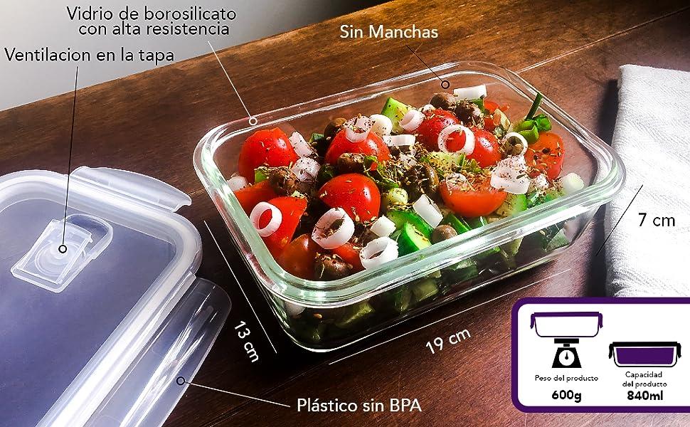 Home Planet® Recipientes de Cristal para Alimentos (840ml X 5 ...