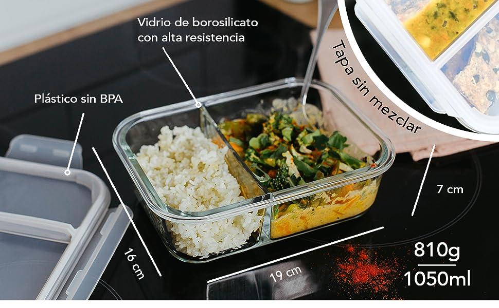 Home Planet® Recipientes de Cristal para Alimentos con 2 Compartimentos (1050ml X 3) | Libre de BPA Tapa | Contendores para microondas | Ideal como ...