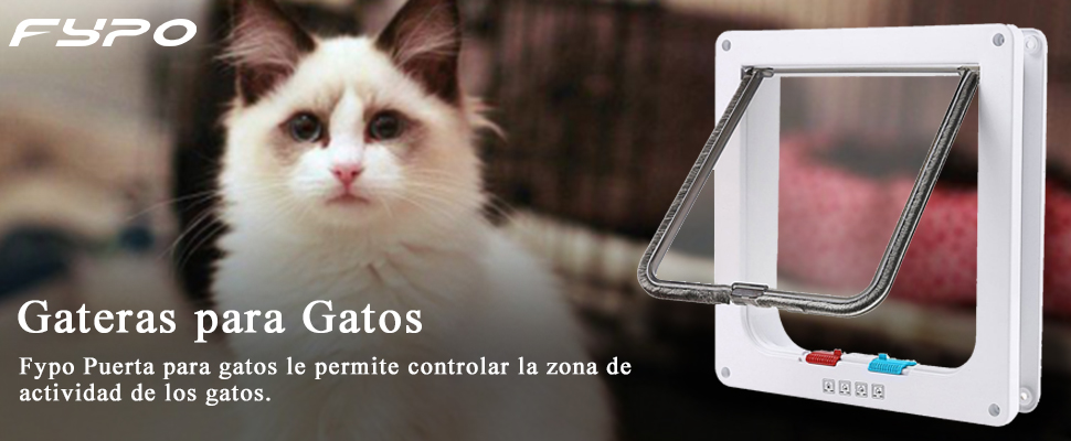 Fypo Puerta de Gato Puerta de Aleta Gatera Cuadrada Acceso Seguridad para Gatos Ventana de Observación de Mascota de 4 modos 23,5 * 25cm L (Blanco): Amazon.es: Productos para mascotas