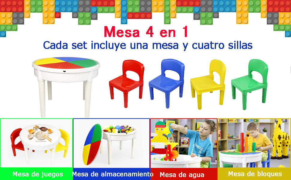 SEIGNEER 4 en 1 Mesa infanti Mesa de Juego Mesa de Bloques mobiliario Infantil Juego de Mesa y sillas