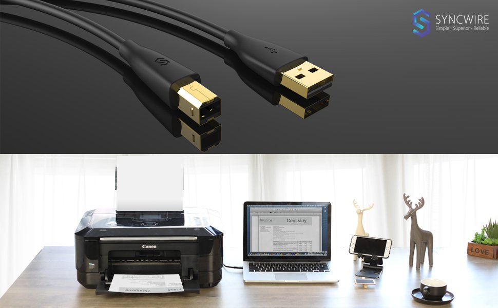 Syncwire SW-UP033 - Cable para impresora y escáner USB 2.0, Cable ...