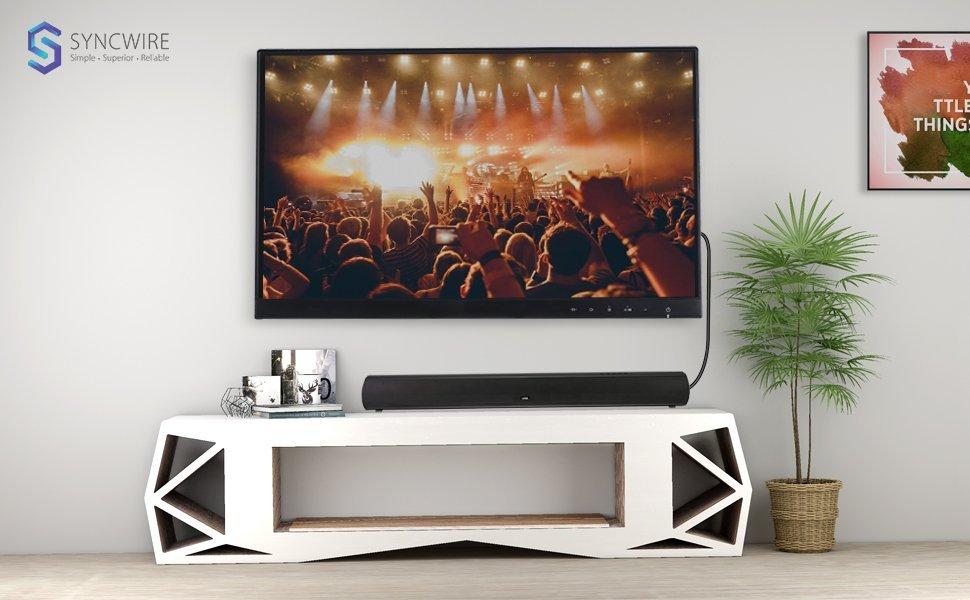 Cable Óptico de Audio Digital - [Chapado en Oro de 24K, Ultra Duradero] Cable de Fibra Óptico Macho a Macho Syncwire para Home Theatre, Barras de Sonido, TV, PS4, Xbox, Playstation y