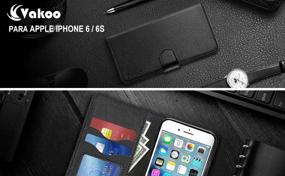 Vakoo Funda para iPhone 6S, PU-Cuero Billetera Funda para Apple ...