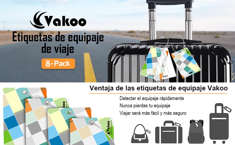 Etiquetas de Equipaje Maleta Accesorios de Viaje +privacidad con cubierta de acero Loops, 8