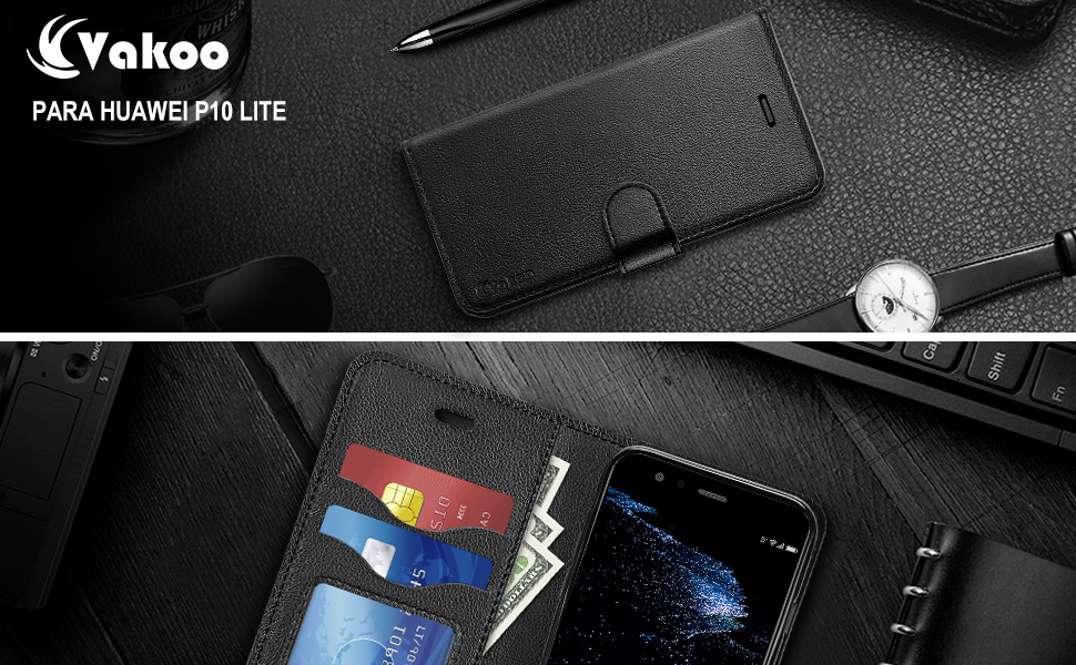 Vakoo PU-Cuero Funda para Huawei P10 Lite Billetera Carcasa ...