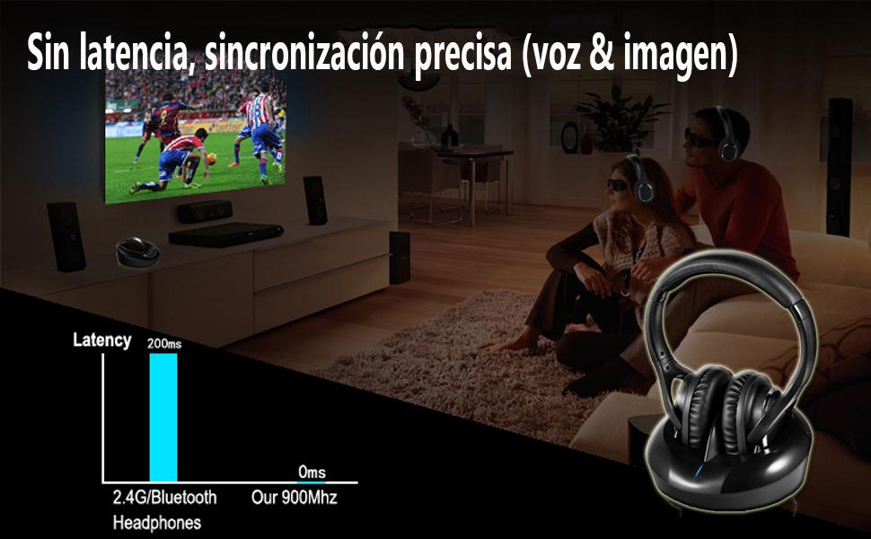 Auriculares Inalámbricos TV Auriculares Diadema RF 2.4Ghz Transmisor Rango Inalámbrico 100metro con Base de Carga Compatible Audio de 3.5mm RCA Óptico Coaxial para Smart TV LG Samsung Laptop: Amazon.es: Electrónica