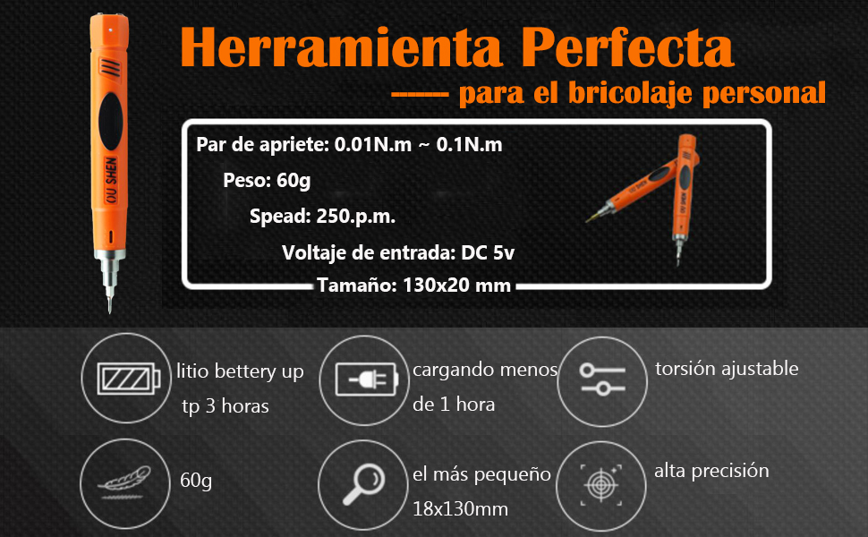 Destornilladores Precisión Atornillador Eléctrico Inalámbrico Par Ajustable Recargable Diseño de Doble Carga con 6 Puntas para PC iPhone iPad Reloj ...