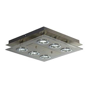 Lámpara de techo LED con 6 focos GU10 I 6 x 3W bombillas I Luz blanco cálido 3000K I Plafón moderno para salón