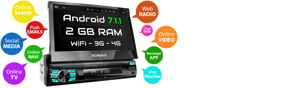 Norma DIN uno Radio de coche con Android 7.1.1 OS
