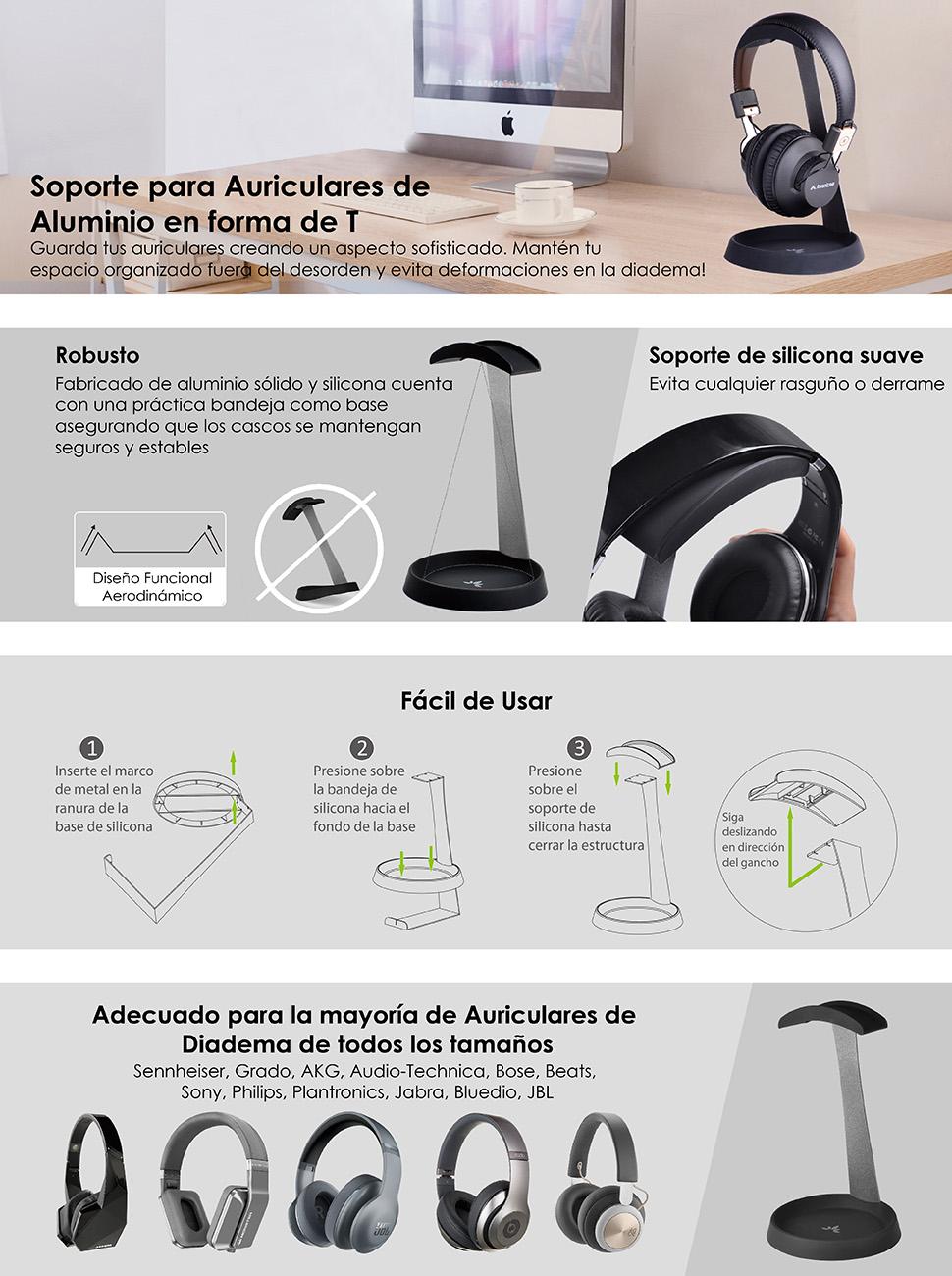Avantree HS102 - Soporte de auriculares con soporte de cable ...