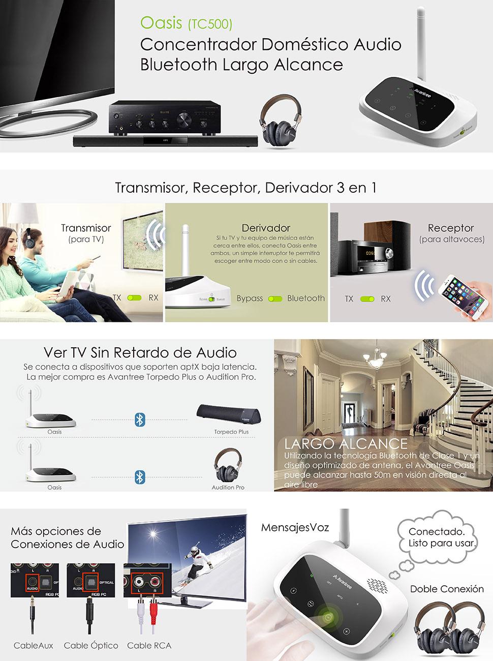 Avantree Transmisor Bluetooth Versión Actualizada de Largo Alcance 50 Metros para el Audio de TV, Transmisor y Receptor Inalámbrico, aptX Baja Latencia, Soporte Óptico Digital, RCA AUX: Amazon.es: Electrónica