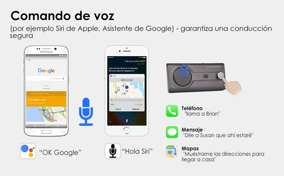 Siri y Asistente de Google Compatible para asegurar una conducción segura