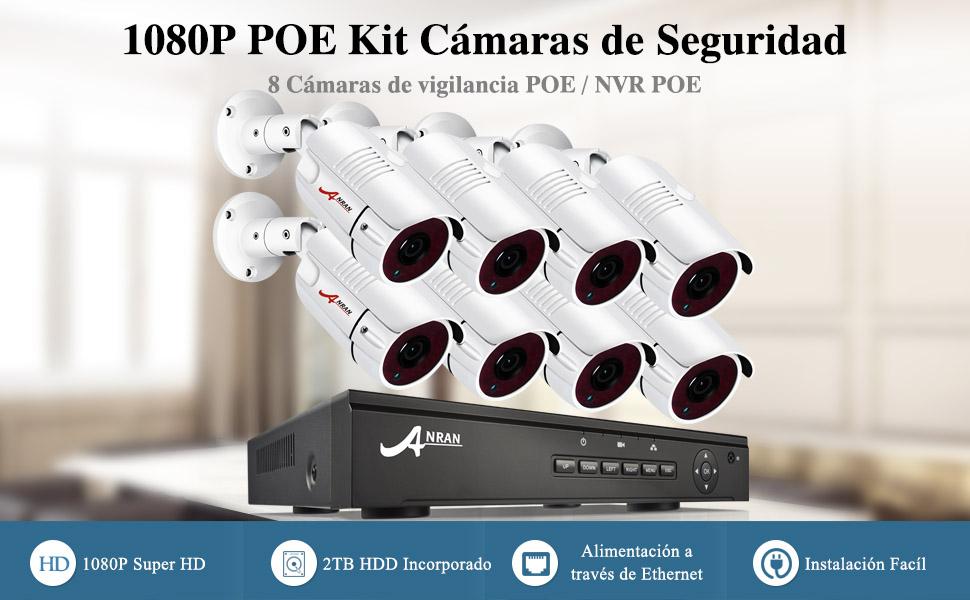 Sistema Videovigilancia POE: El POE Sistema de Seguridad para el Hogar necesita cables de red para conectar el NVR POE 8CH y 8 Cámara IP de Vigilancia POE ...