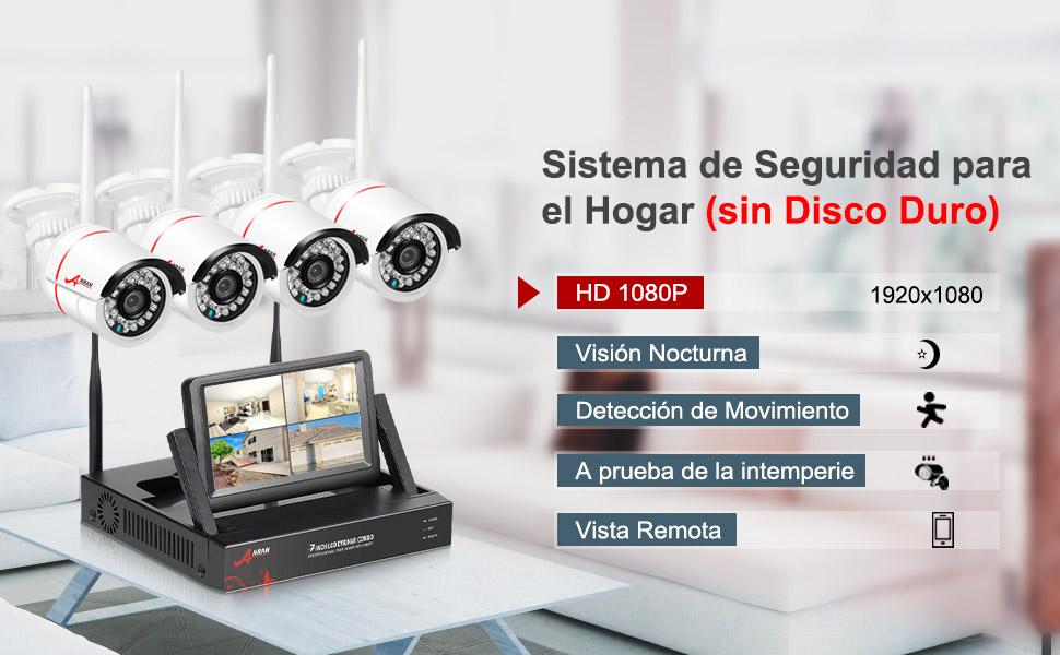 1080P Kit Cámaras de Vigilancia WiFi con Monitor de 7 Pulgadas