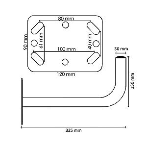 Diesl.com - Soporte parabolica Alcor en L SP30 | Antenas parabolicas de 50-60 cm de diámetro | Diametro mm: 35 | Longitud mm: 300