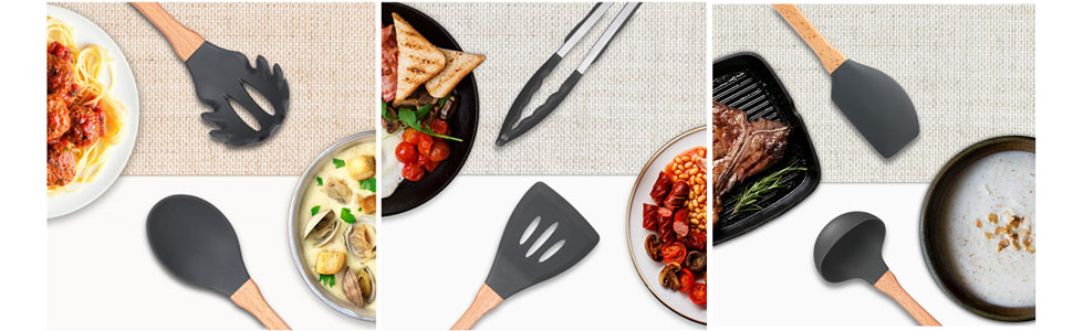 Vemico Utensilios Cocina de Silicona 9 Piezas Juego de Cocina Resistente Al Calor Gray Cuchara de Sopa Cuchara de Sopa Cuchara
