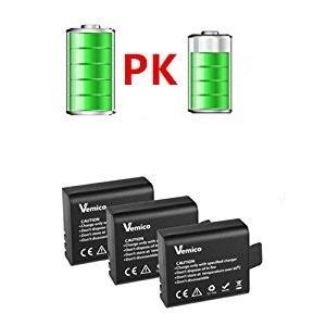 Las baterías 3pcs proporcionan energía adicional para la cámara de acción; extender el tiempo de grabación.
