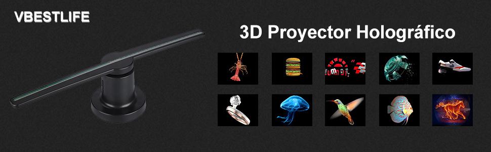 Proyector de holograma 3D, 224 piezas LED Reproductor portátil de ...