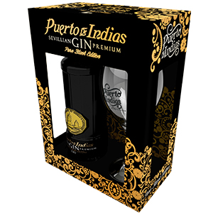 Pack Gin Pure Black Edition Puerto de Indias Botella 700ml + Copa ...