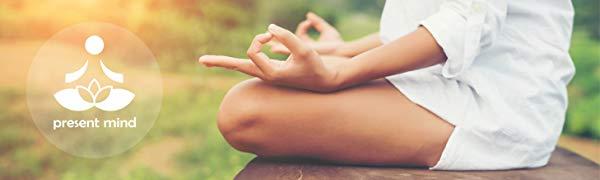 Present Mind Cojín de Meditación y Yoga, Funda Lavable, Algodón y Cáscara de Alforfón Natural…