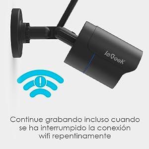 ieGeek Cámara de Vigilancia Exterior, Cámara de Seguridad Wi-Fi 1080P, Versión Nocturna 25M, Impermeable IP66, Detección de Movimiento, Empuje de ...