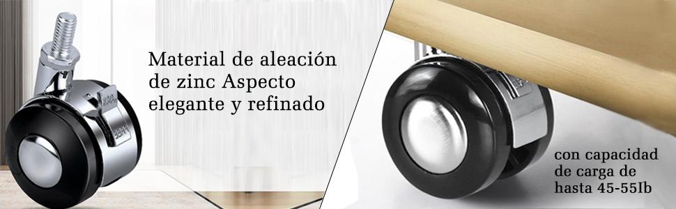 Owfeel 2 Pulgadas Ruedas Para Muebles Eslab/óN Giratorio de Aleaci/óN de Zinc 360 /° C Ruedas Giratorias Resistente Para Muebles de La Carretilla-Paquete de 4
