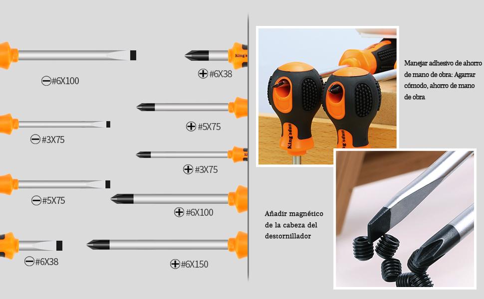 E·Durable 9pcs Juego Destornilladores de precisión con punta magnética ahorro de mano multifuncional herramienta Phillips y Flathead destornillador ...