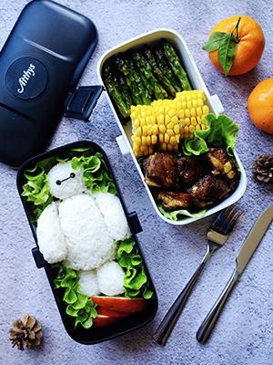Atthys Lunch Box Negro | Tupper Design con 2 Cubiertos de Acero ...