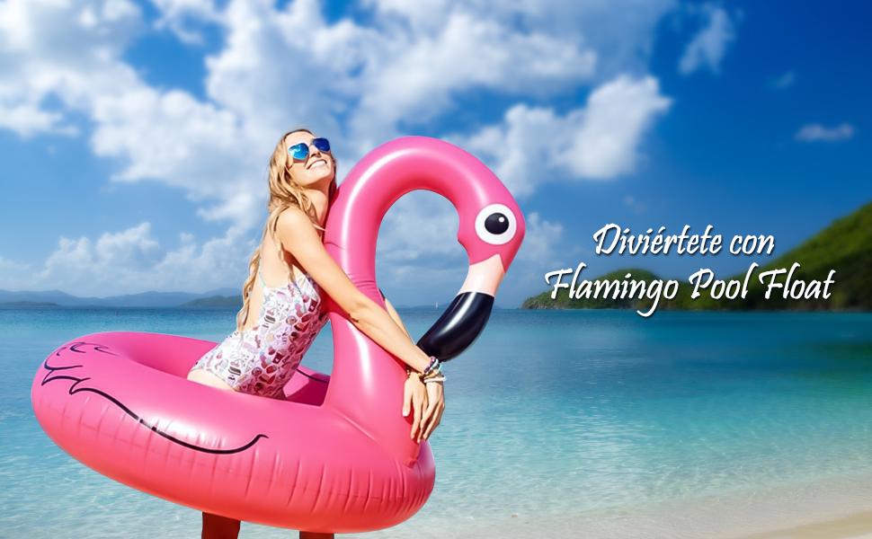 Flotador inflable de la piscina del flamenco ...