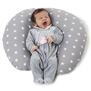 Cojin Lactancia Bebè, Funda Cojin 100% Algodòn,Extraíble y Lavable, Almohada Multifuncional para Madre y Bebé Relleno de Fibra de Poliéster Calidad ...