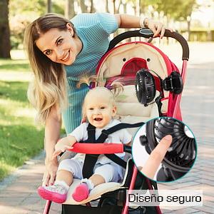 Mini Ventilador USB Silencioso Recargable Batería Ventilador Portátil Velocidad Ajustable 360° Ventilador Pinza Pequeño para Mesa, Cochecito de bebé, ...