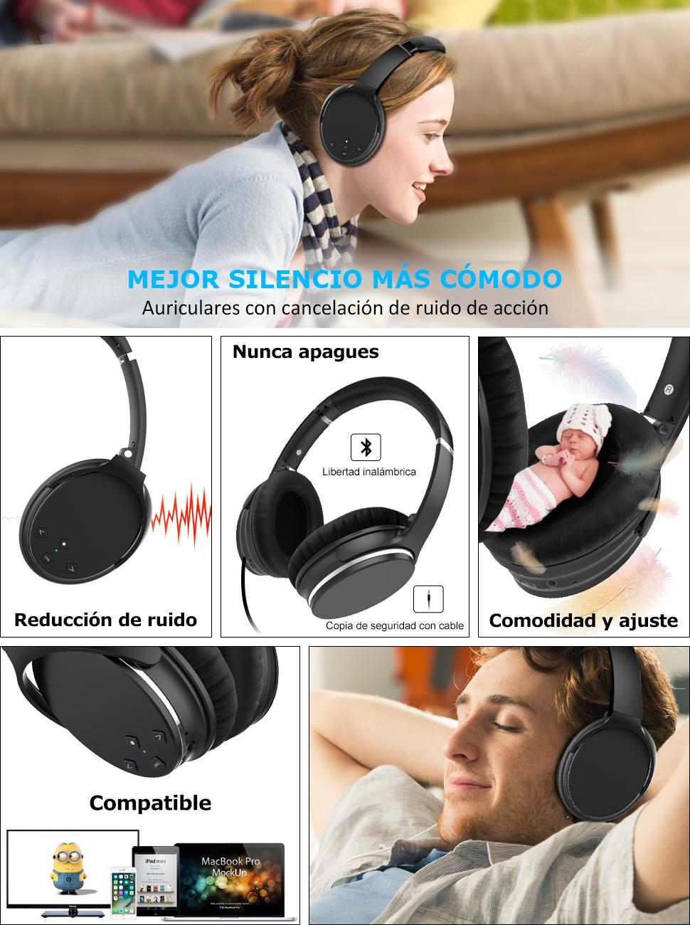 Sunvito auricular : Reduce eficazmente el ruido del tráfico de la ciudad, el zumbido de una cabina de avión o el bullicio en una oficina ocupada, ...