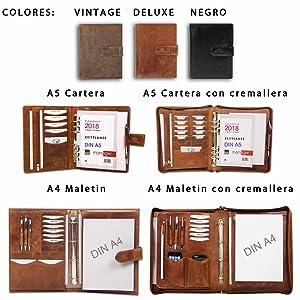 ALMADIH Maletin de cuero A4 + Bloc notas con anillas removibles agenda Personal Organizador Diario Cartera de conferencias Maletin Carpeta de anillas ...
