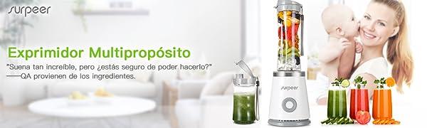 Batidora de Vaso,SURPEER Mini Batidora Smoothie,2 Vasos Portátil ...