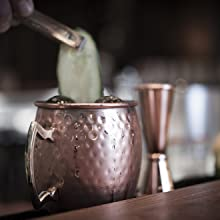 Buddys Bar - Taza Moscow Mule, set de 4, 4 x 450ml, tazas de acero de alta calidad con revestimiento de cobre antiguo, apta para alimentos, aspecto ...