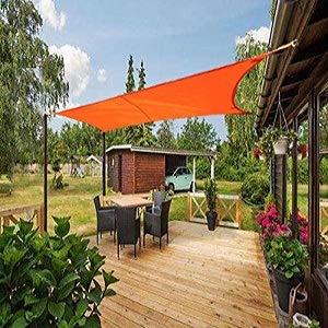 Laxllent Toldo Vela de Sombra, Protección Rayos UV, Impermeable y Resistente, Toldo para Jardín Balcón Terraza Coche y BBQ, con Cuerda Libre, PES, Triángulo, 3x3x3m, Naranja: Amazon.es: Jardín