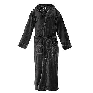 Lumaland Bata de lujo en microfibra con capucha, para mujeres y para hombres, disponibles en varios colores y tamaños.