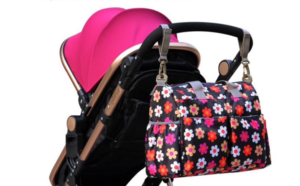Maternal Bolso Cambiador Bolsillos para Carrito Carro de Bebes Pa/ñales Multibolsillos Mam/á Viaje Happy Cherry Multicolor1