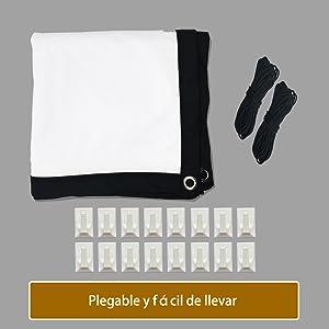 KPCB Pantalla para proyector de 100 Pulgadas (227 cm * 131 cm), 16 ...