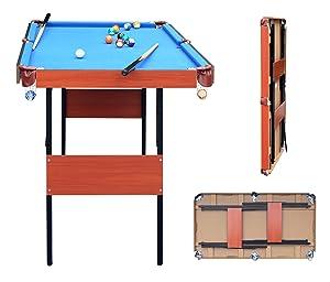 HLC Mesa de Billar Snooker (139.5 * 74.7 * 80 cm) Tapizado Azul ...