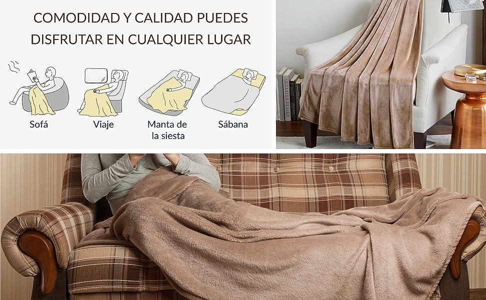 Bedsure Manta para Sofas de Franela 230x270cm - Manta para Cama 180 Reversible de 100% Microfibre Extra Suave - Manta Camello Transpirable