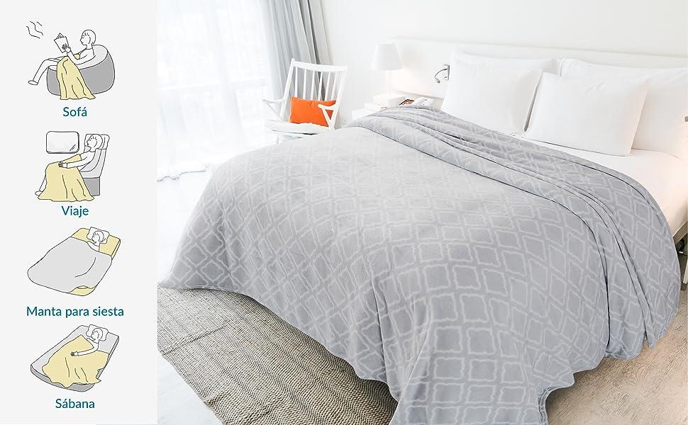 Bedsure Mantas para Sofás de Franela 150x200 cm - Manta para Cama 90 Reversible de 100% Microfibre Extra Suave - Manta Estmapada de Celostía Gris