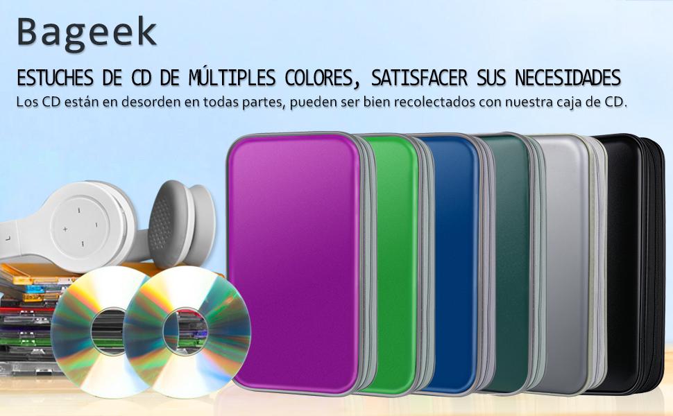 Bageek Porta CD Estuche CD DVD de 80 Disco DVD Bolsas Almacenamiento disco duro portátil (Rosa roja)