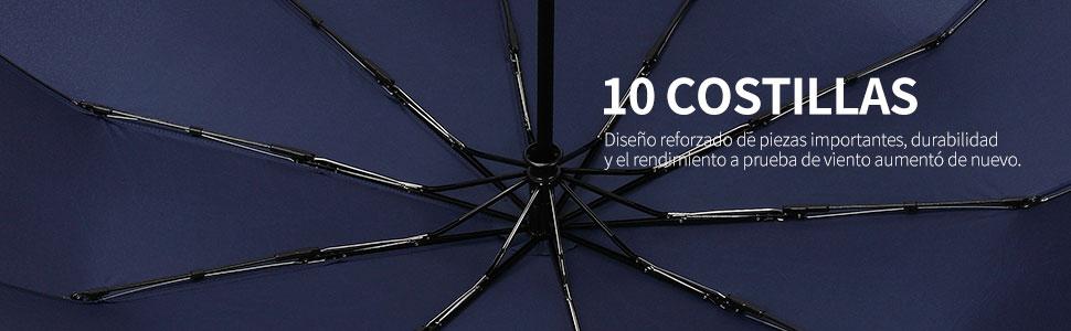 MUCO Paraguas plegableParaguas Automáticocon Cierre automático de botón Abierto y Revestimiento de teflón Hombre Mujer Paraguas de Viaje con 10 Varillas Azul: Amazon.es: Equipaje