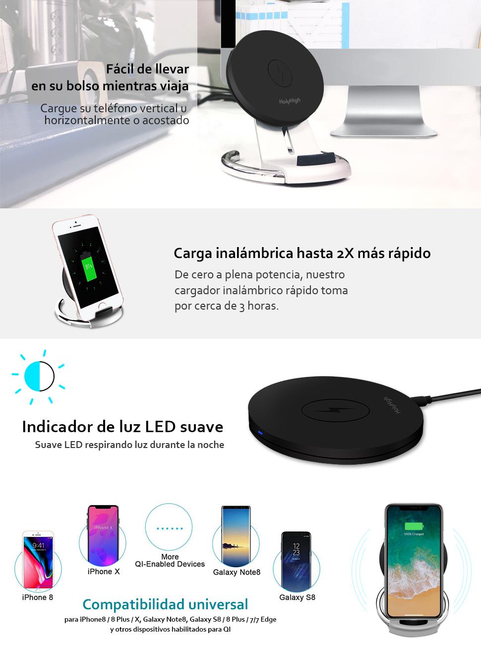 HolyHigh Cargador Inalámbrico Rápido 10W Soporte Qi Cargador Inalámbrico para iPhone X, iPhone 8 Plus, iPhone 8 Wireless Quick Charger para Samsung ...