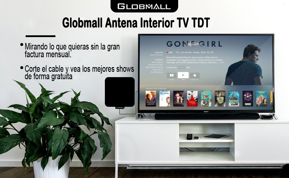 Globmall Antena de TV Portátil con Rango Amplificado de 80 km, Amplificador de Señal TV y Cable Coaxial de Alto Rendimiento de 13.2FT de Alta Calidad (2018 Última Versión)  (model A):