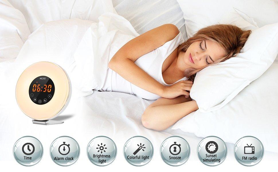 INLIFE Wake Up Light Despertador de Luz con 7 Colores Ajustables 6 Sonidos Naturales y 10 Intensidades de Luz Radio FM Control Táctil con USB