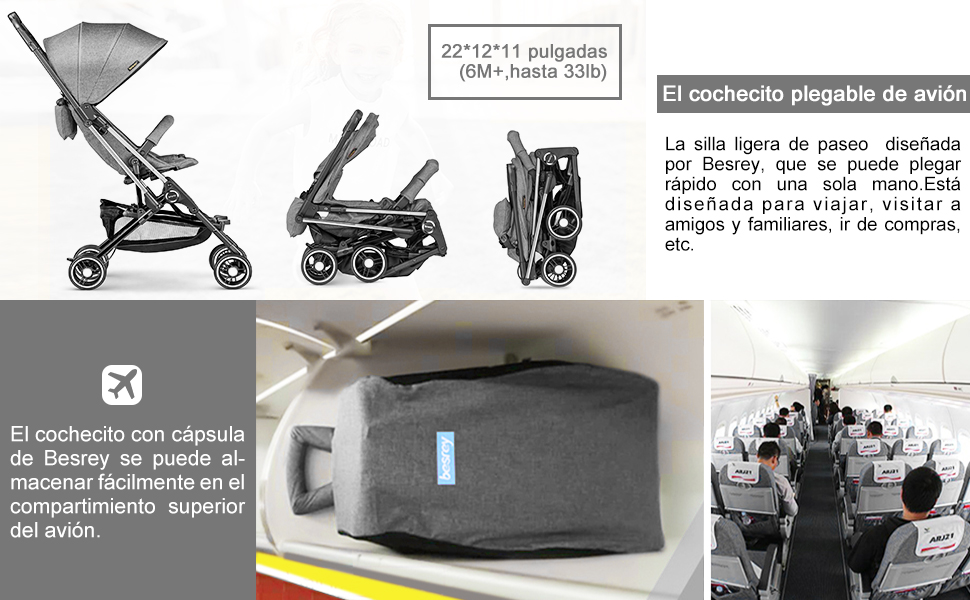 Silla de paseo ligera, Besrey Silla Paseo 4,9kg Compacta Avión Cochecito Plegable Viaje para bebe/nino Carritos de Bebe 6-36 Meses